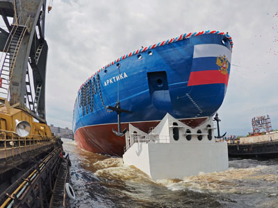 The Russian nuclear-powered icebreaker Arktika (Arctic) is launched in St. Petersburg, Russia, June 16, 2016. Russia has been modernizing its icebreaker fleet as part of its efforts to strengthen its Arctic presence.