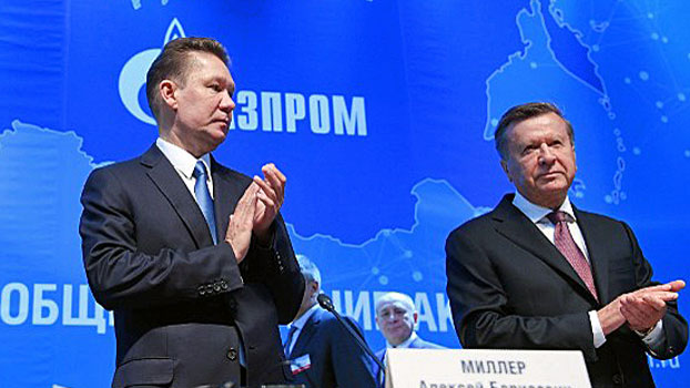 Alexei Miller (L), chief executive officer of Russian gas giant Gazprom, and Viktor Zubkov (R), chairman of the board of directors, arrive at the annual general meeting of the company's shareholders in Moscow, June 30, 2017.