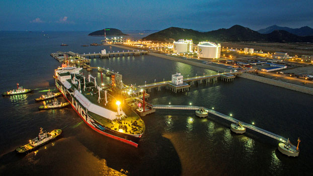 The liquefied natural gas (LNG) tanker Stena Blue Sky is seen at a new LNG terminal owned by Chinese energy company ENN Group, in Zhoushan, eastern China's Zhejiang province, Aug. 7, 2018.