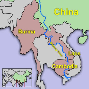 A map depicting the course of the Mekong River. Credit: RFA